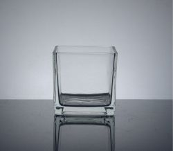 "Cube Glass Vase 4.75"" x 4.75"" x 4.75"", 12 p/c, Mac"