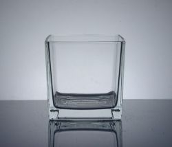 "Cube Glass Vase 6"" x 6"" x 6"", 12 p/c, Machine Made"