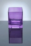 "Block Glass Vase 4"" x 4"" x 5"", Lavender, 12 p/c"