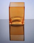"Block Glass Vase 4"" x 4"" x 5"", Orange, 12 p/c"