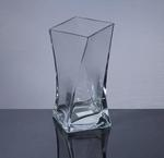 "Square Twisted Vase 3.75""x3.75""x7.75"",12 p/c"
