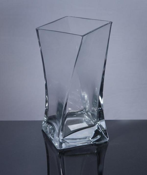 Bzy57 2 Square Twisted Vase 35 X 35 X 10 12 Pc Block Glass
