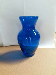 "Glass Ginger Vase Blue 3.75"" x 8"", 12 p/c"
