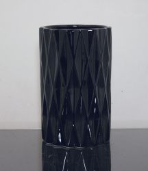 "Ceramic Diamond Cylinder Vase Black 5"" x 8"", 6 p/c"