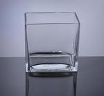 "Block Glass Vase 4"" x 6"" x 6"", 8 p/c"