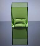"Block Glass Vase 4"" x 4"" x 5"", Green, 12 p/c"