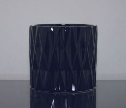 "Ceramic Diamond Cylinder Vase Black 6""x 6"", 12 p/c"