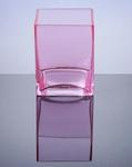 "Block Glass Vase 4"" x 4"" x 5"", Pink, 12 p/c"