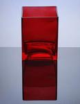 "Block Glass Vase 4"" x 4"" x 5"", Red, 12 p/c"