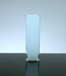 "Baked Block Glass Vase 3"" x 3"" x 10"", 12 p/c White"