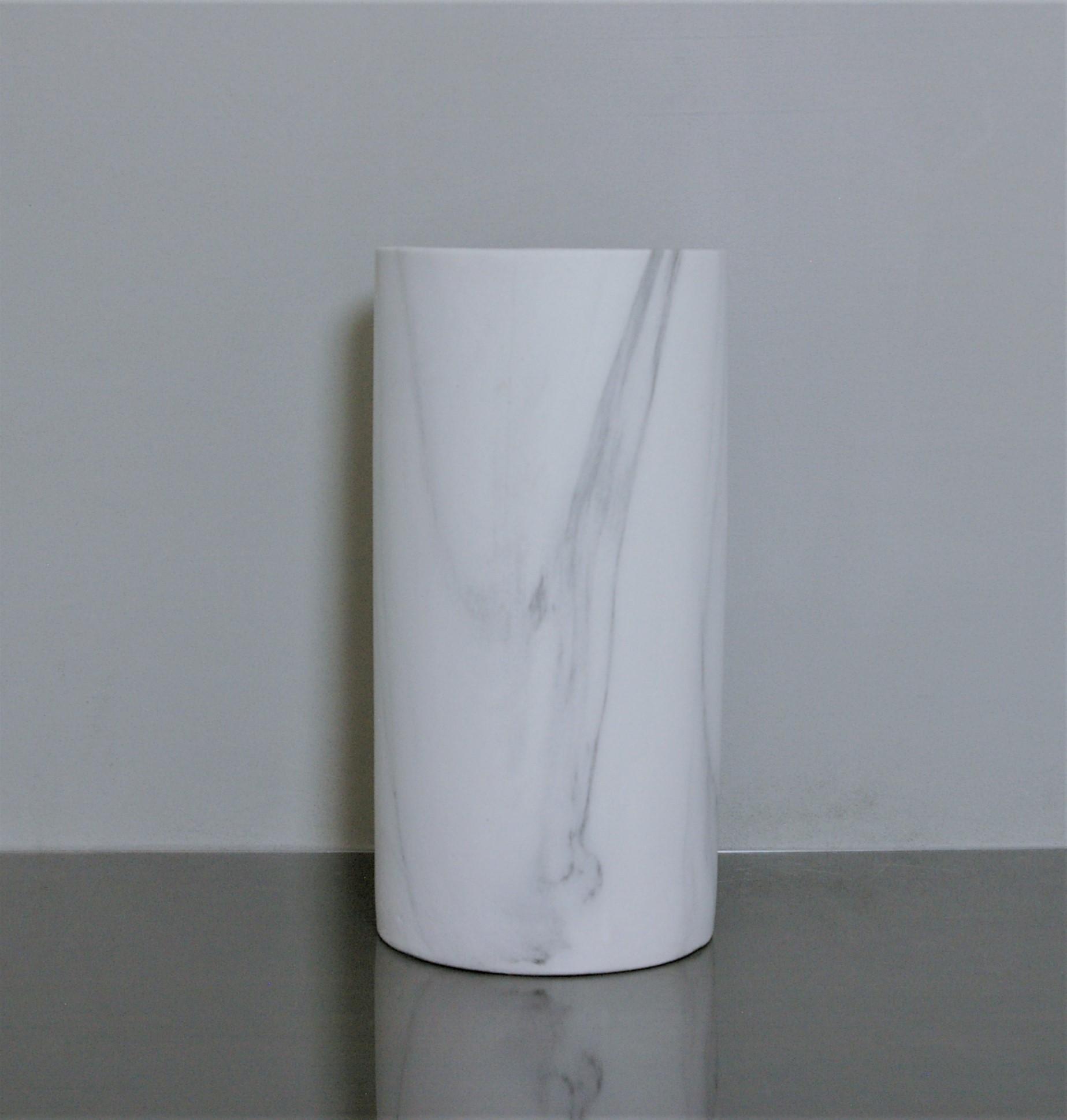 Cr Mb510 Ceramic Marble Cylinder Vase 5 Quot X 10 Quot White 6 P